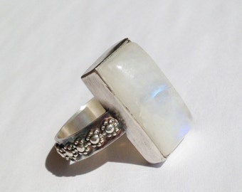 Rainbow Moonstone Ring, Size 7 1/2 Flower Band Hand Fabricated in Sterling Silver, White Rectangle Stone with Blue Flash