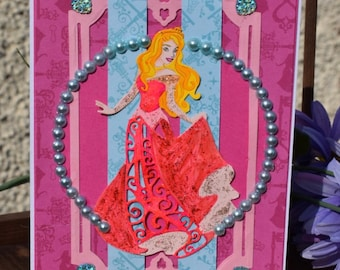 Disney Sleeping beauty handmade pink birthday card.
