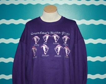 Grandparent crew neck sweatshirt - grandma's butterflies - custom grandkids brag sweatshirt - embroidered grandparent sweatshirt