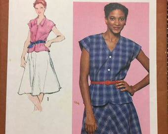 80's Misses' Top and Bias Skirt  Simplicity 9539 Sewing Pattern  size 12 Bust 34 inches  Uncut Complete Sewing Pattern