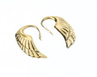 Angel Wing Brass hook earrings handmade, Brass, Tribal Style, Delicate angel wings, Gift boxed, Free UK post BG1