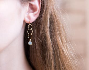 Dainty Aquamarine Drop Earrings, March Birthstone Jewelry, Simple Bridesmaid Earrings, Long Chain Earrings, Tiny Hoops, Birthday Gift Women