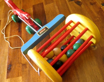 """Mid Century Brio (Sweden) Horse/Carriage Pull Toy--Original Sticker--12"""" Long x 5"""" Wide x 3-1/2"""" High--Great Condition"""