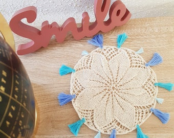 Bohemian doily with tassels