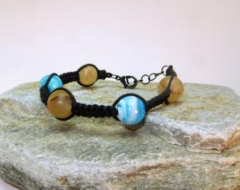 Planetary Black Cotton Wax Cord Braided Bracelet - Women's Jewelry/Fashion - 10mm Round Swirled Glass Bead Gemstone Cuff