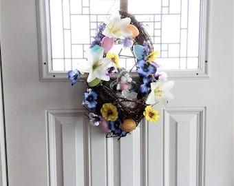 Easter Bunny Wreath, Easter Wreath, Spring Wreath, Front Door Wreath, Spring Decor, Easter Decoration, Outdoor Wreath, Easter Egg Wreath