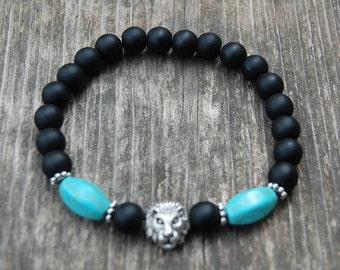 Lion Bracelet,Onyx 8mm Beads,Mens Lion Bracelet,Gemstone Beads,Lion head,Gift for Him,Bracelet for Men,Leo Lion Bracelet,Man