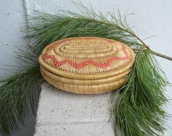 Native American Coil Oval Grass Basket/Keepsake