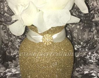Gold Glitter Vase Centerpiece