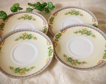 CECIL Bone China 6.5 Inch Saucers by Meito China, Vintage Set of 4 Made in Japan