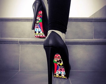 Hand painted Shoes - Parrot Shoes - Hand Painted Heels - Black Platform heels - Womens custom Shoes - High Heels - gift for friend
