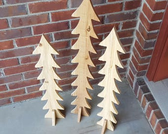 Rustic Christmas Trees | Unpainted | Front Porch Decor | Holiday Decoration