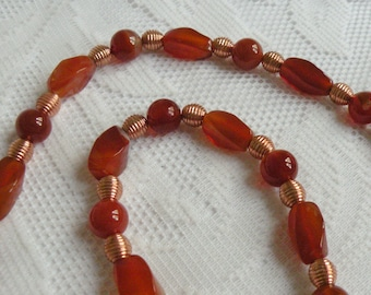 Flaming Red Agate and Copper Necklace