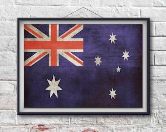 Australian  Flag Print, Australian  Poster,  Australian  Flag Art, Australian  Art Print, Wall Art, Wall Decor, World Poster [PXCF030-P]