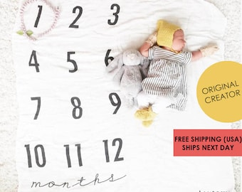 Baby Milestone Blanket ™ Months / Monthly Growth / swaddle blanket / anniversary blanket / age blanket / growth blanket / newborn
