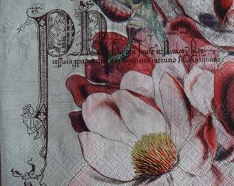 4 Floral Paper Napkins, Retro Napkins, Vintage Napkins, Decoupage Napkins, Lunch Napkins, Tea Party Napkins (BIG FLOWER)
