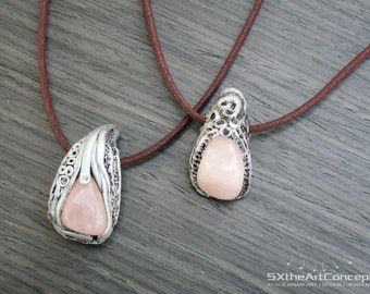 Rose Quartz pendants, set of two, gift for him and her, best friends, sisters, love, amulet pendant, clay gemstones, artistic unisex jewelry