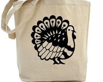 Thanksgiving Tote - Turkey - Cotton Canvas Tote Bag