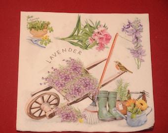 """serviette en papier thème Fleurs """"Côté jardin"""""""""""