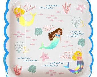 Mermaid Party | 8 Paper Plates | Mermaid Party Plate | Party Plates | 8 Per Pack | Mermaid Theme Party | Under the Sea Theme