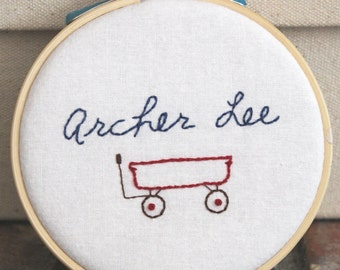 Sweet 'n Simple Custom Embroidered Personalized Nursery Wall Decor Hoop Art