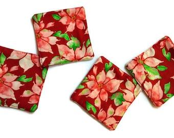 Poinsettia Fabric Coasters, Handmade Christmas Coasters, Set of 4 Coasters