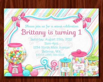 Sweet Shoppe Birthday Invitation PRINTABLE Digital File