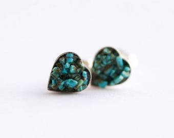 5x6mm Heart Raw Turquoise Stud Earrings. Tiny Turquoise Studs Tiny Turquoise Earrings Turquoise Studs Turquoise Stone Earrings. Heart studs.