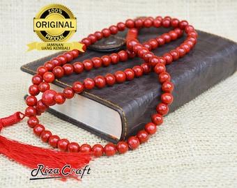 Natural Original Red Coral Marjan Tasbih Tasbeeh Set Prayer Beads Stone Gemstone 99