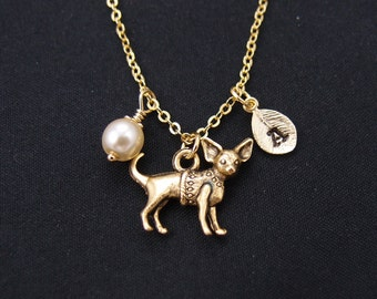 chihuahua necklace, gold filled, initial necklace, Swarovski pearl choice, gold dog charm on gold chain, doggy jewelry,gift for mom,birthday