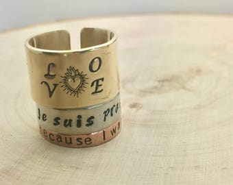 Outlander inspired hand stamped ring / Je suis prest / Dinna fash / Sassenach / Because you wanted me / or your favorite word / personalized