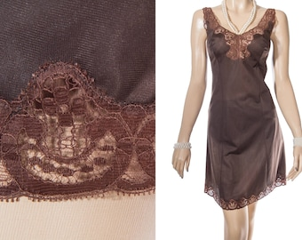 Elegant 'Rolmaine' silky soft chocolate brown nylon and delicate sheer lace detail 1970's vintage full slip petticoat underskirt - S361