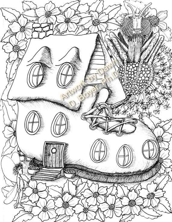 Inside House Drawing: Fairy Houses And Fairy Doors Vol 3 And 4 Individual Coloring
