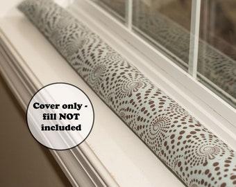 extra long or short polka dot door draft stopper sleeve - custom length empty aqua cover - brown spiral dots - window dodger - wind guard