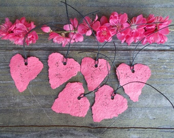 Pink Valentines hearts, plantable paper hearts, pink cloud poppies, paper flowers, seed paper, flower seeds paper hearts