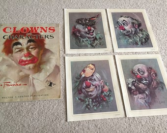 CYDNEY Clown Prints For Framing + Leon Franks Instructional Art Magazine/Book