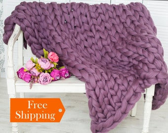 Chunky Knit Blanket SALE! Giant Knit Blanket, Throw Blanket, Chunky Blanket, Merino Wool Blanket, Chunky Knit Throw Home Decor