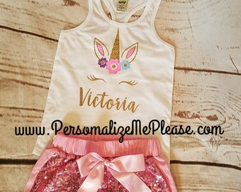 Unicorn  Birthday Outfit,  Unicorn Tank Top, Pink and Gold  Baby Girl Birthday Outfit, Unicorn Tank Top , Pink Sparkle Sequin Shorts