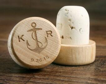 Bulk Personalized Wine Stopper Engraved, Nautical Wedding Favor, Wine Wedding Gift, Wine Corks, Anchor Wedding Favor, Custom Wine Cork Favor
