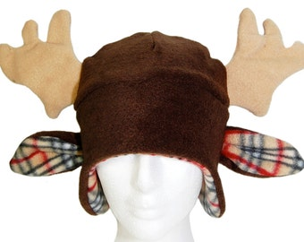 Moose Plaid Fleece Earflap Hat