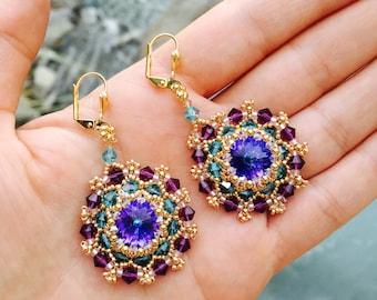 Multicolor Swarovski beaded earrings swarovski earrings wave earrings waving earrings gold plated earrings14 mm Swarovski  rivoli