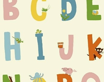 Kinder by Heather Ross for Windham Fabrics - Alphabet - White - 1/2 Yard Cotton Quilt Fabric
