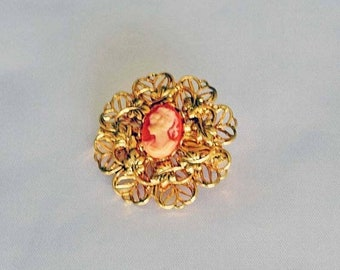 Memorial Day Sale Vintage Gold-tone Metal Filigree Brooch or Pin with Cameo Girl wearing hair in a Pony Tail