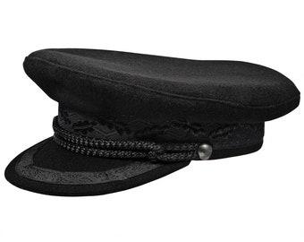 KASHUBIA MODEL 1 - Merchant Fleet Officer / Sailor / Mariner / Captains hat Peaked Cap Wool - black