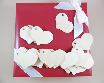 "Gift Tag Heart Wood Ornaments 2 5/16"" W x 1 11/16"" H x 2.5mm Thick - 25 Pieces"