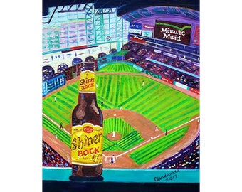 Shiner Bock Beer Painting, Houston Astros Baseball Park, Minute Maid Park, World Series, Baseball Gift, Texas Beer Art, Beer Gift for Him