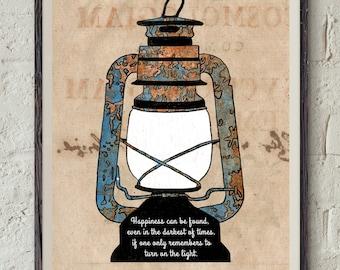 J.K. Rowling Quote Art - Harry Potter Printable - The Prisoner of Azkaban Book - Vintage Oil Lamp - Dumbledore Quote Print - Literature Art