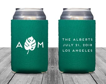 Neoprene Can Coolers, Personalized Coolies, Wedding Can Huggers, Custom, Los Angeles Wedding, Can Coolers, Tropical Wedding, Monstera, 1387
