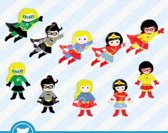 50% OFF SALE Girl Superhero Clipart / Little Girl SuperHeroes Paper Good / Personal and Commercial Use / Item Number: Superhero-FG1