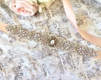 Wedding sash rose gold, wedding sash pearl, vintage wedding sash, sash rose gold, sashes and belts rose gold, bridal sash pearl, pearl sash